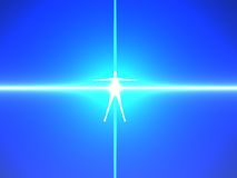 Fuselage humain dans les rayons bleus de pouvoir Image libre de droits