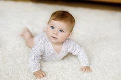 Fuselage porteur de petit bébé drôle et étude pour ramper Image stock