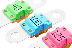 Fuses. Three fuses of various values, suitable for cars Stock Photography