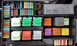 Fuses in fuse box Stock Image