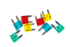 Fuses, used in motor cars. Royalty Free Stock Photos