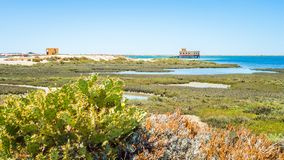 Fuseta-Strand-Ansicht in Portugal Lizenzfreie Stockfotografie