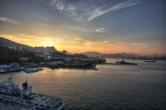 Sea Port. Fushan Port South Korean sunset cruise ship stock photography