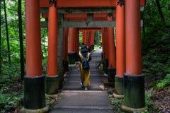 Fushimi Inari寺庙足迹在京都 免版税库存照片