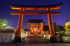 Fushimi Inari Shrine. A giant red torii gate stands at the entrance to Fushimi Inari shrine. Photo taken December 31, 2014 in Kyoto, Japan Stock Photography