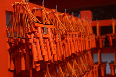 Fushimi Inari Shrine in Kyoto Japan. KYOTO, JAPAN - APRIL 11, 2016 : Ema prayer tables with unique Torii gates boards at Fushimi Inari Taisha Temple in Kyoto Royalty Free Stock Photo
