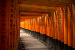 Fushimi Inari shrine in Kyoto. KYOTO, JAPAN - APRIL 13, 2015: The gates in the Fushimi Inari shrine in Kyoto, Japan.  Famous for his thousand of orange tori Stock Photography