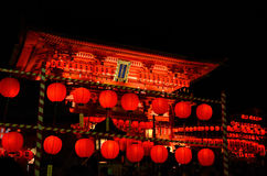 Fushimi Inari Shrine, Kyoto Japan. Fushimi Inari shrine in Kyoto Japan, the night scene of votive lanterns and the main gate Stock Photos