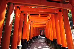 Fushimi Inari Taisha. This shrine is the head shrine of Inari the god of rice and patron of businesses Stock Photos