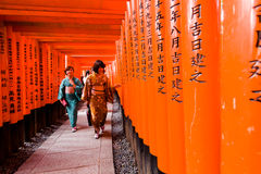 Fushimi Inari Taisha. KYOTO - NOV 24 :  An unidentified Japanese woman  walk at Fushimi Inari Taisha Shrine on November 24, 2013. The shrine sits which is 233 Stock Photography