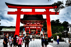 Fushimi Inari-Taisha, old temple in Kyoto, Japan. Kyoto, Japan - August 03, 2014 : One of the most beautiful place for trourist to visit the huge red temple Stock Photography