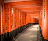 Fushimi Inari Taisha, passagem vermelha da porta, Kyoto Japão Fotos de Stock