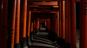 Fushimi Inari-taisha,  Torii gates by night Stock Photos