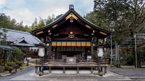 Wooden Shrine with white lamps stock photos