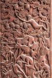 Fushun, Sichuan wyśmienite rzeźby na Świątynnym wielkich hal drzwi Fushun okręgu administracyjnym Obraz Stock