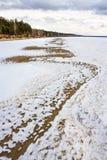 Fusión de la primavera del hielo en el río Obi Imágenes de archivo libres de regalías