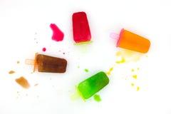 Fusión del helado de la fruta del sistema en el fondo blanco, fav del helado Fotografía de archivo libre de regalías
