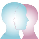Fusión masculina y femenina de las caras del perfil de la silueta ilustración del vector