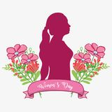 Fusic Woman Silhouette With Flowers And Ribbon Royalty Free Stock Image