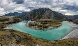 Fusie van de rivieren van Katun en Chuya- Royalty-vrije Stock Foto's