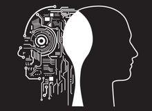 Fusie van mens met kunstmatige intelligentie Stock Afbeeldingen