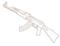 Fusil AK 47. illustration stock