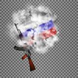 Fusil d'assaut russe de kalachnikov avec un drapeau dans la fumée Photographie stock libre de droits