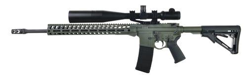 Fusil du côté gauche AR15 avec la peinture de vert de feuillage Images libres de droits