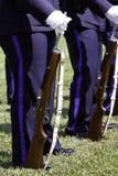 Fusil et élingue de dispositif protecteur d'honneur d'équipe de fusil de police Photo libre de droits