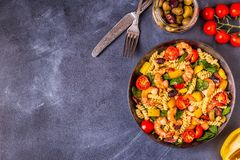 Free Fusili Pasta Salad With Shrimps. Stock Photography - 130934342