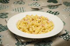 Fusilli alla carbonara Stock Photos