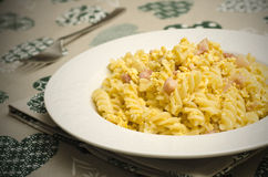 Fusilli alla carbonara Royalty Free Stock Photo
