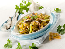 Fusilli with anchovies Royalty Free Stock Images