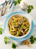 Fusilli with anchovies Royalty Free Stock Photos