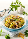 Fusilli with anchovies Stock Photography