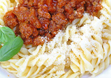 Fusilli and bolognese Stock Photography