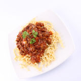 Fusilli with bolognese sauce. Fusilli bucati lunghi with bolognese sauce on a plate stock image