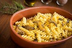 Fusilli with bottarga and mushrooms, Sardinian Cuisine Royalty Free Stock Images