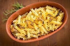 Fusilli with bottarga and mushrooms, Sardinian Cuisine Stock Image