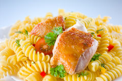 Fusilli with chicken Stock Images