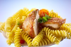 Fusilli with chicken isolated. Fusilli with chicken and parsley Royalty Free Stock Photography