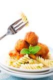 Fusilli on fork Stock Photo