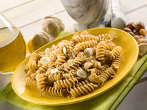 Fusilli with hazelnut  pesto Royalty Free Stock Image