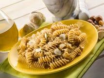 Fusilli with hazelnut  pesto Royalty Free Stock Image