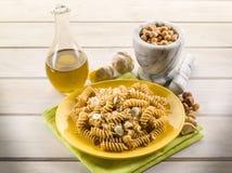 Fusilli with hazelnut  pesto Stock Photos