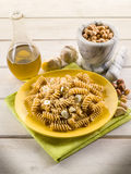 Fusilli with hazelnut  pesto Stock Photography