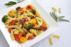 Fusilli italian pasta with colored vegetables. Rectangular plate on white background with few sage leaves stock image