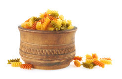 Fusilli italian pasta in wood bowl Stock Images