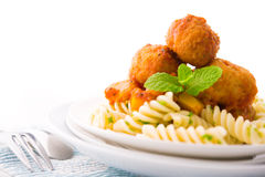 Fusilli Meatball. Delicious Fusilli with meatball ready to serve Royalty Free Stock Photos