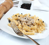 Fusilli and mushroom cream Royalty Free Stock Photo